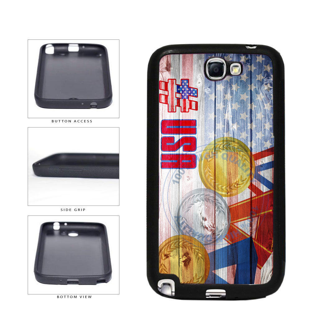 Sport Games Hashtag Team USA #USA TPU Rubber SILICONE Phone Case Back Cover For Samsung Galaxy Note II 2 N7100 includes BleuReign(TM) Cloth and Warranty Label