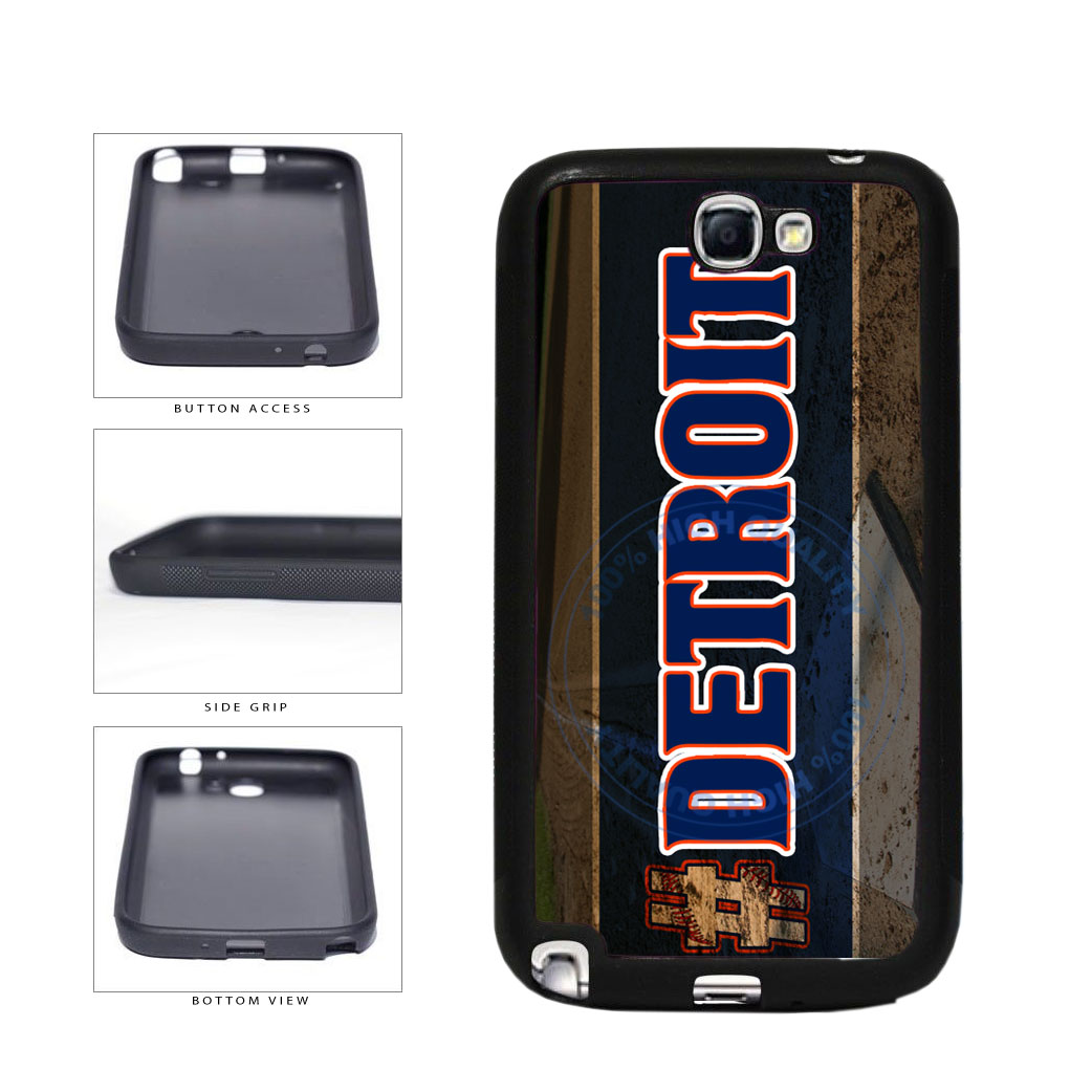 Hashtag Detroit #Detroit Baseball Team  TPU Rubber SILICONE Phone Case Back Cover For Samsung Galaxy Note II 2 N7100 includes BleuReign(TM) Cloth and Warranty Label