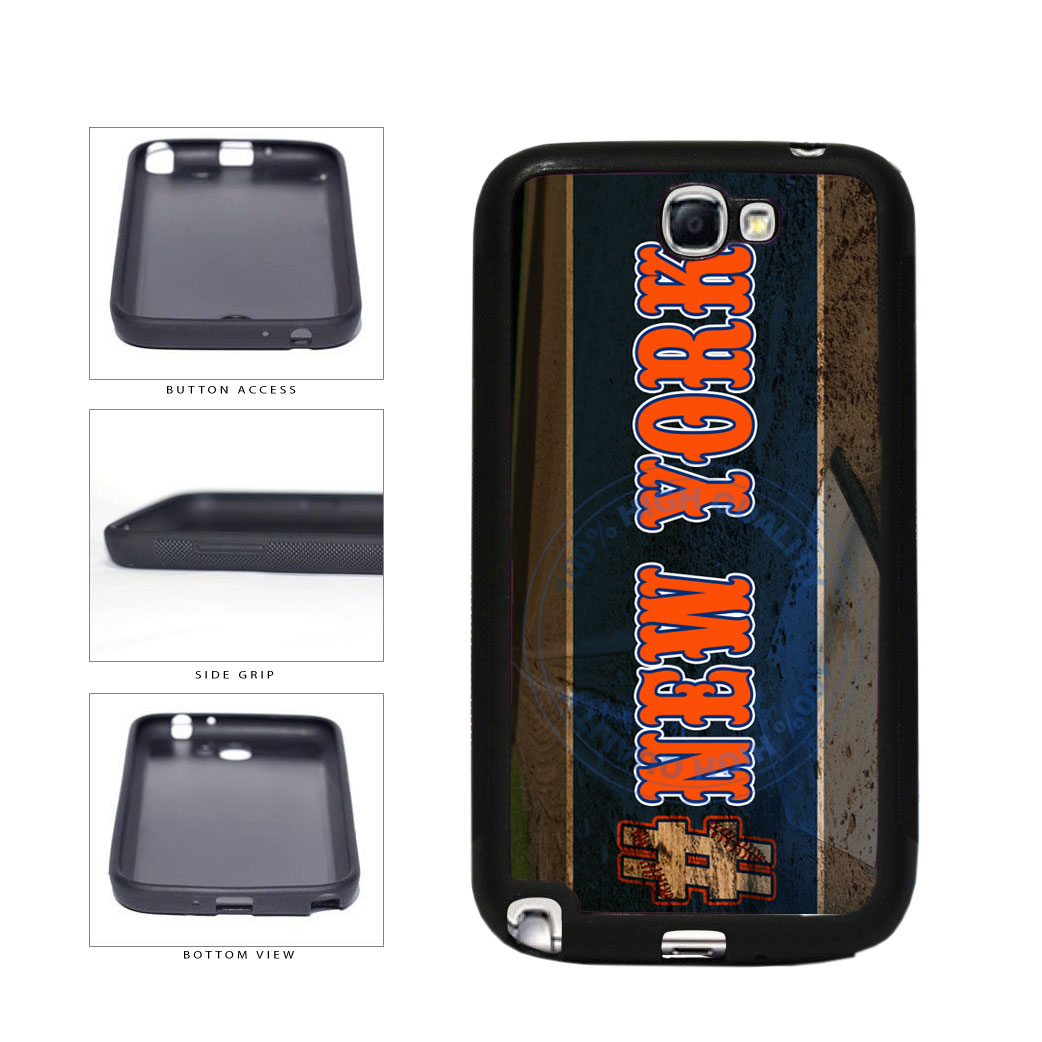 Hashtag New York #NewYork Orange Baseball Team  TPU Rubber SILICONE Phone Case Back Cover For Samsung Galaxy Note II 2 N7100 includes BleuReign(TM) Cloth and Warranty Label