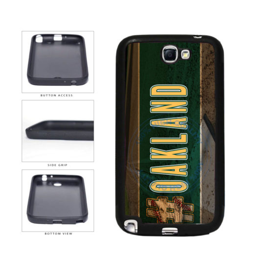 Hashtag Oakland #Oakland Baseball Team  TPU Rubber SILICONE Phone Case Back Cover For Samsung Galaxy Note II 2 N7100 includes BleuReign(TM) Cloth and Warranty Label