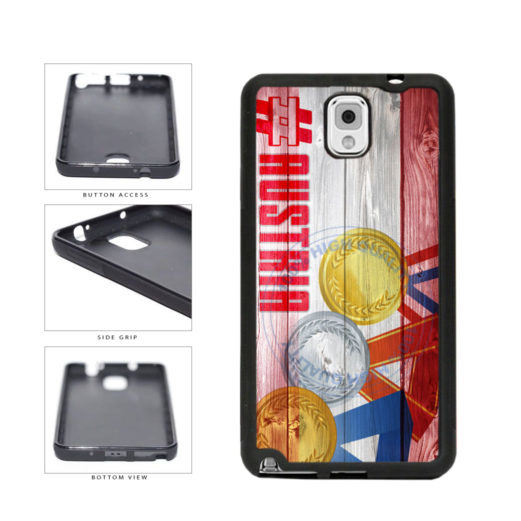 Sport Games Hashtag Team Austria #Austria TPU Rubber SILICONE Phone Case Back Cover For Samsung Galaxy Note III 3 N9002 includes BleuReign(TM) Cloth and Warranty Label