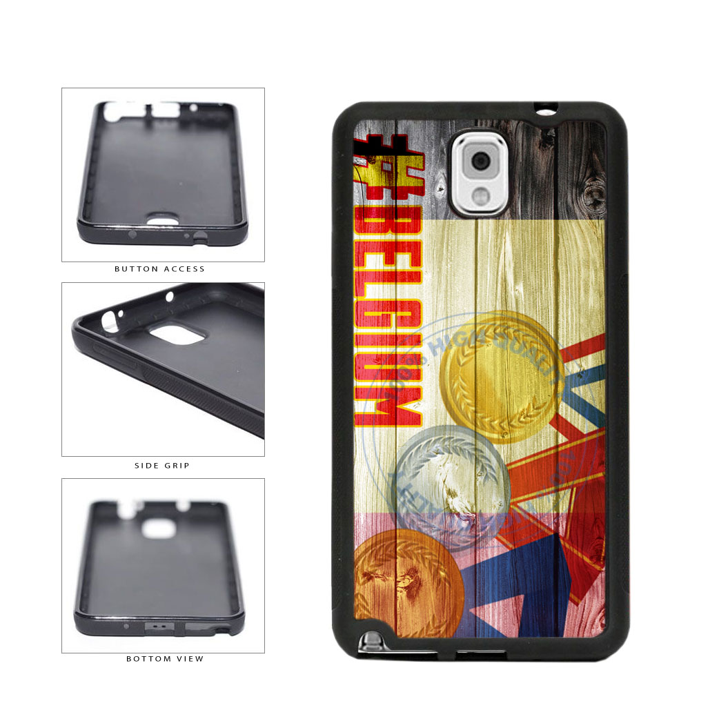 Sport Games Hashtag Team Belgium #Belgium TPU Rubber SILICONE Phone Case Back Cover For Samsung Galaxy Note III 3 N9002 includes BleuReign(TM) Cloth and Warranty Label