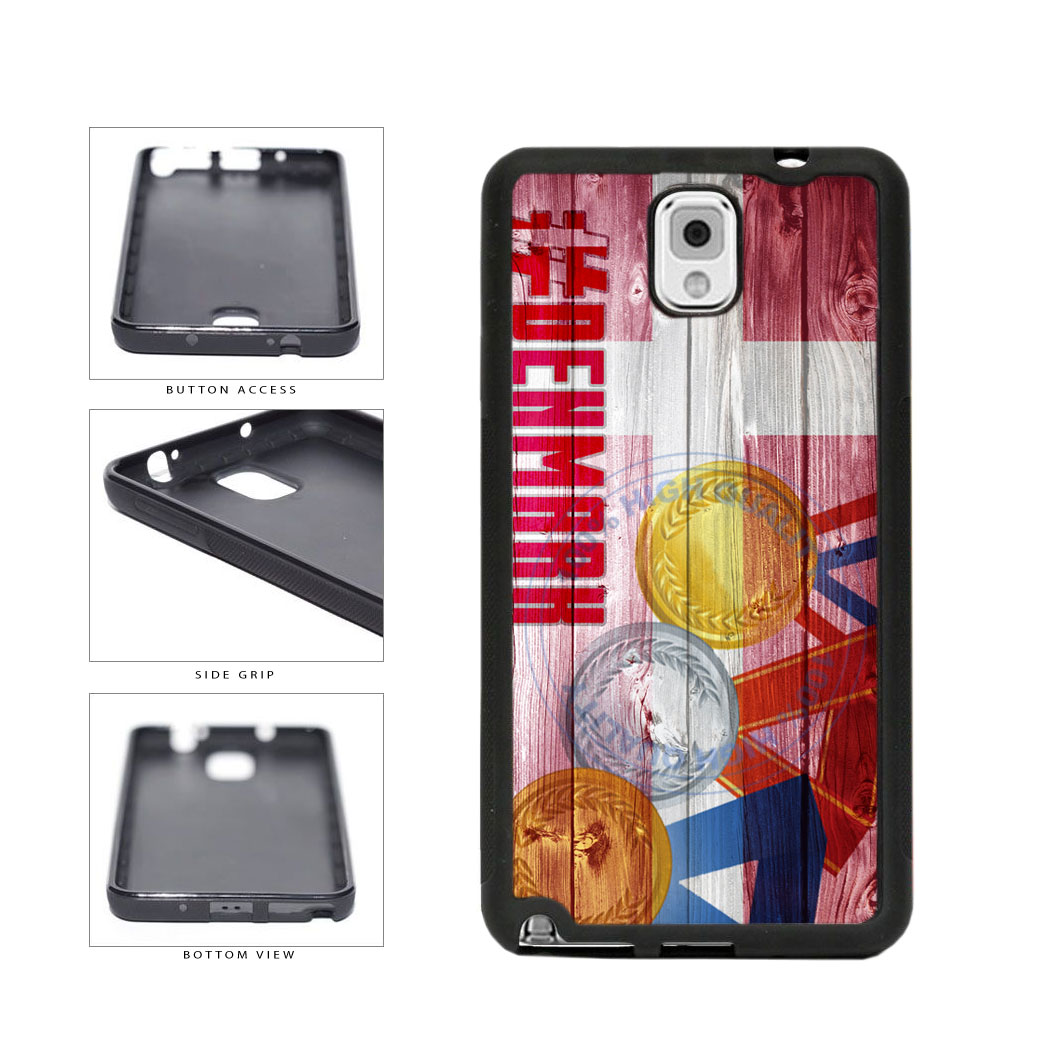 Sport Games Hashtag Team Denmark #Denmark TPU Rubber SILICONE Phone Case Back Cover For Samsung Galaxy Note III 3 N9002 includes BleuReign(TM) Cloth and Warranty Label