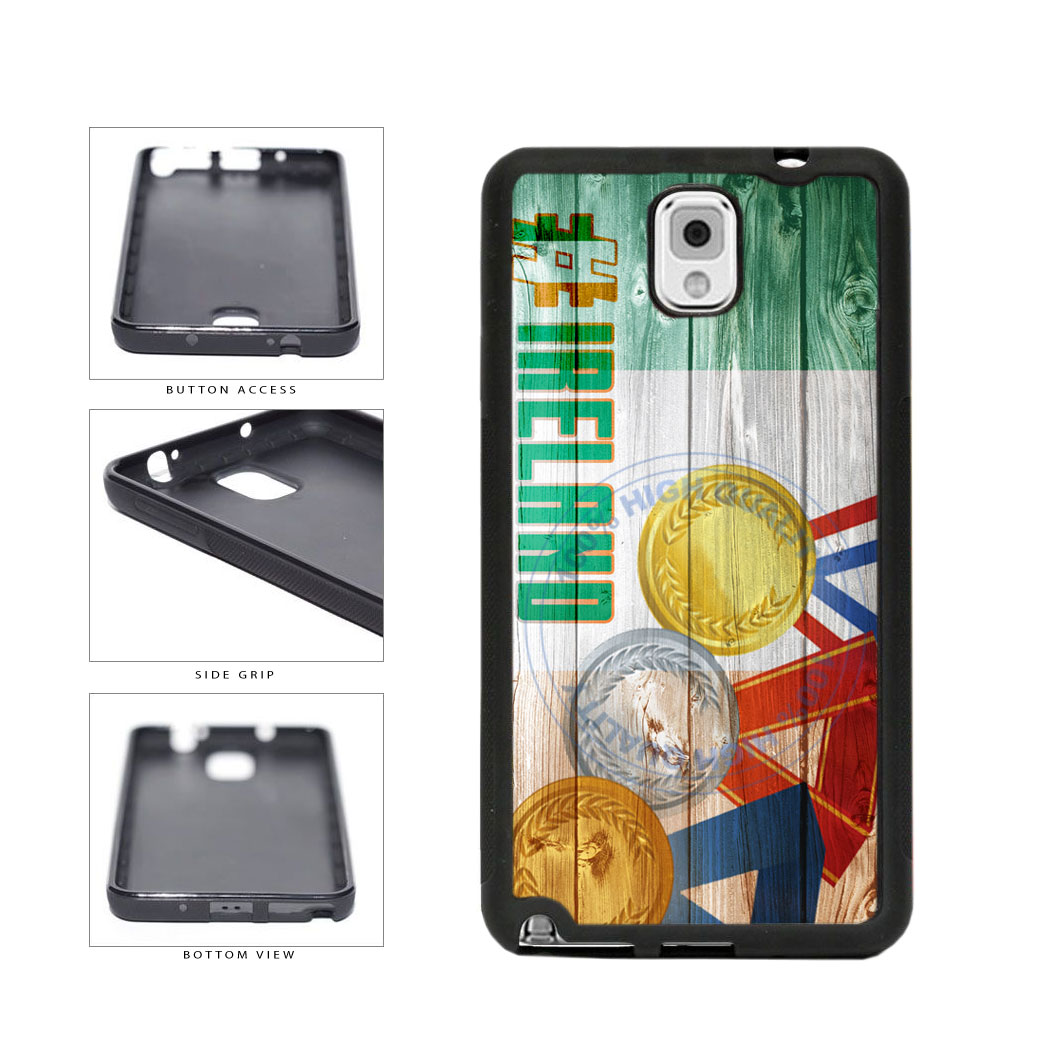 Sport Games Hashtag Team Ireland #Ireland TPU Rubber SILICONE Phone Case Back Cover For Samsung Galaxy Note III 3 N9002 includes BleuReign(TM) Cloth and Warranty Label