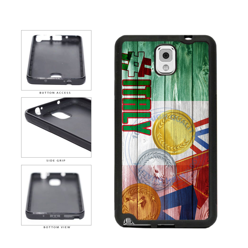 Sport Games Hashtag Team Italy #Italy TPU Rubber SILICONE Phone Case Back Cover For Samsung Galaxy Note III 3 N9002 includes BleuReign(TM) Cloth and Warranty Label