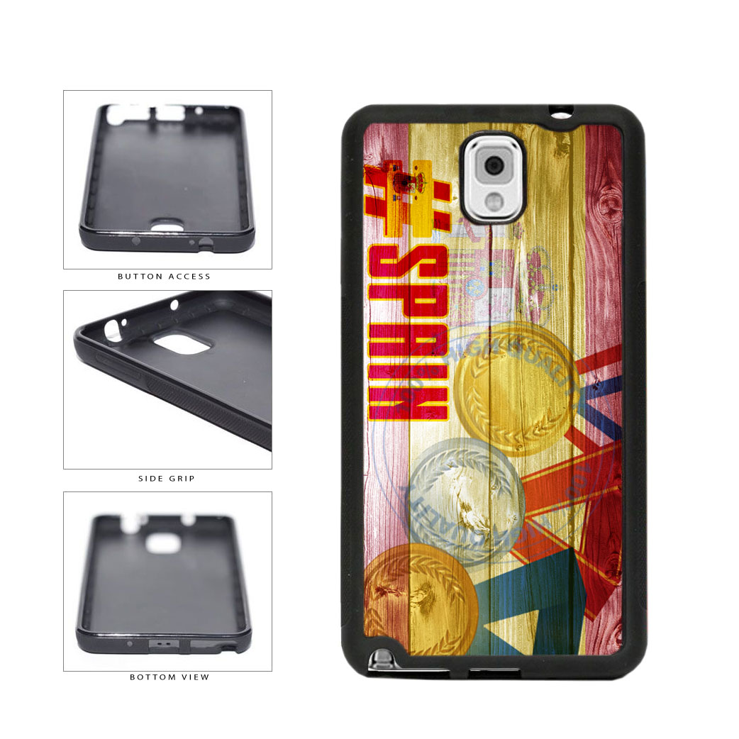 Sport Games Hashtag Team Spain #Spain TPU Rubber SILICONE Phone Case Back Cover For Samsung Galaxy Note III 3 N9002 includes BleuReign(TM) Cloth and Warranty Label