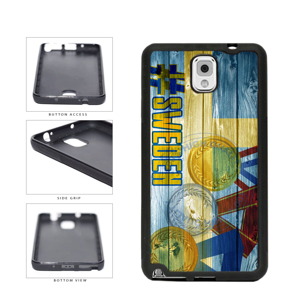 Sport Games Hashtag Team Sweden #Sweden TPU Rubber SILICONE Phone Case Back Cover For Samsung Galaxy Note III 3 N9002 includes BleuReign(TM) Cloth and Warranty Label