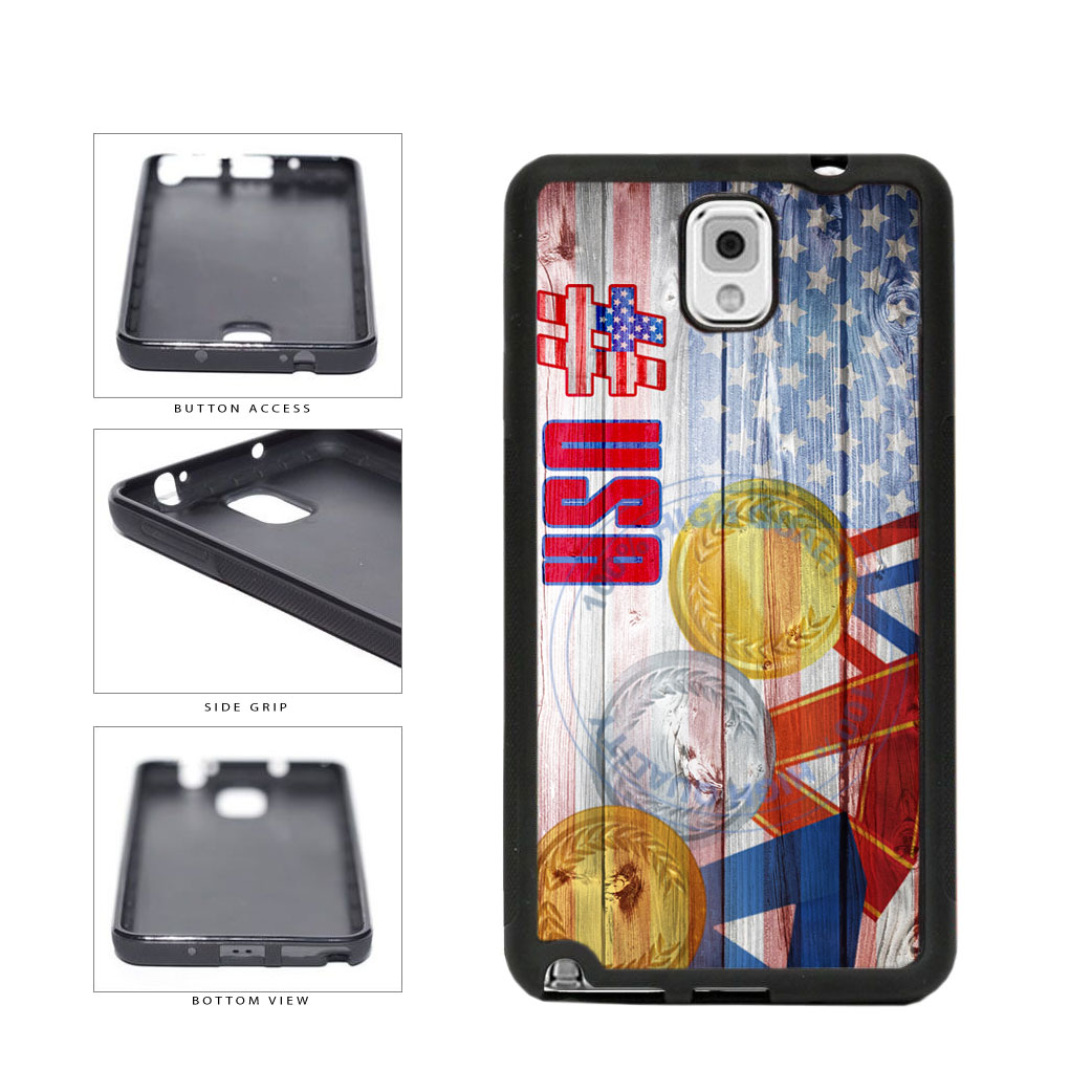 Sport Games Hashtag Team USA #USA TPU Rubber SILICONE Phone Case Back Cover For Samsung Galaxy Note III 3 N9002 includes BleuReign(TM) Cloth and Warranty Label