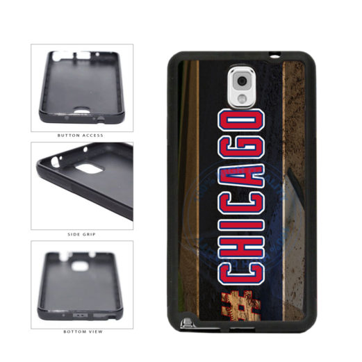 Hashtag Chicago #Chicago Blue and Red Baseball Team  TPU Rubber SILICONE Phone Case Back Cover For Samsung Galaxy Note III 3 N9002 includes BleuReign(TM) Cloth and Warranty Label
