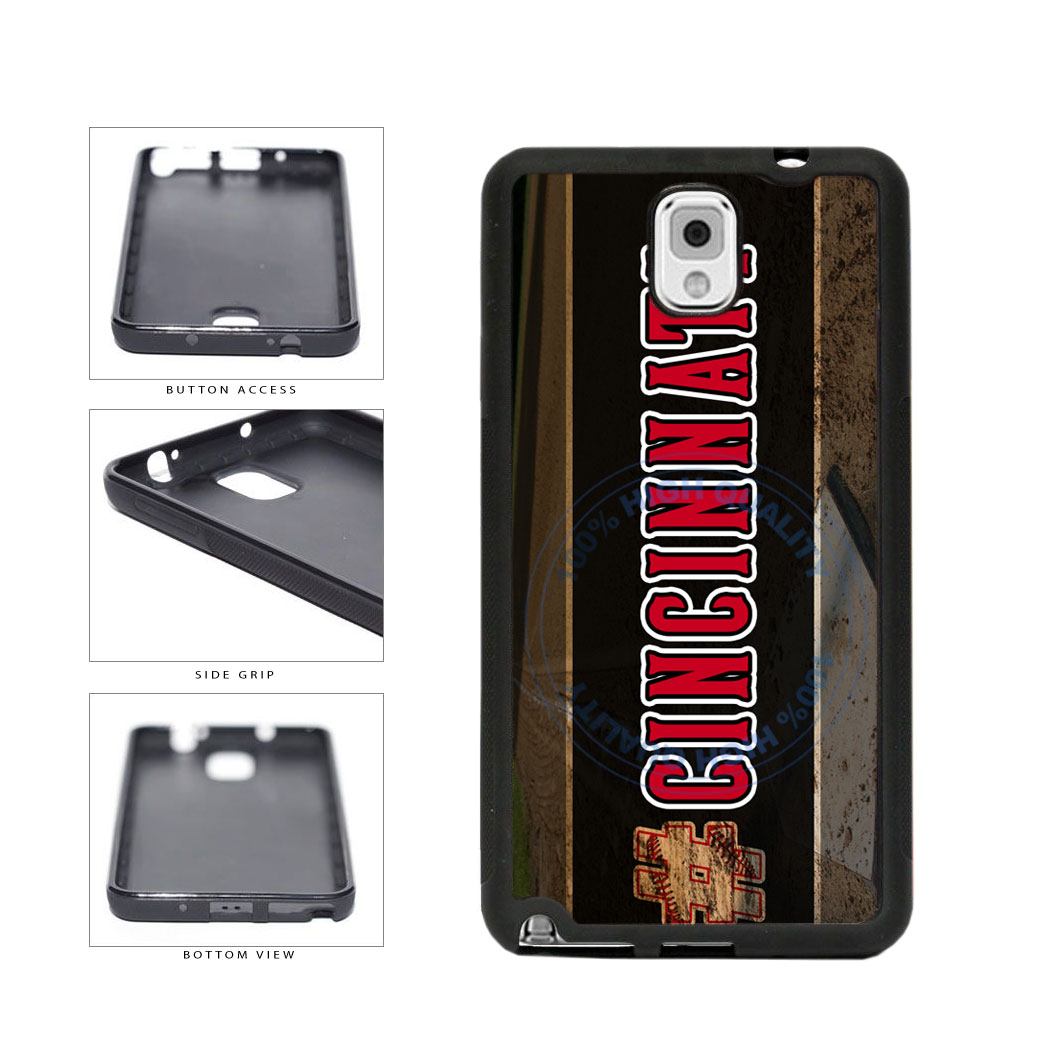 Hashtag Cincinnati #Cincinnati Baseball Team  TPU Rubber SILICONE Phone Case Back Cover For Samsung Galaxy Note III 3 N9002 includes BleuReign(TM) Cloth and Warranty Label