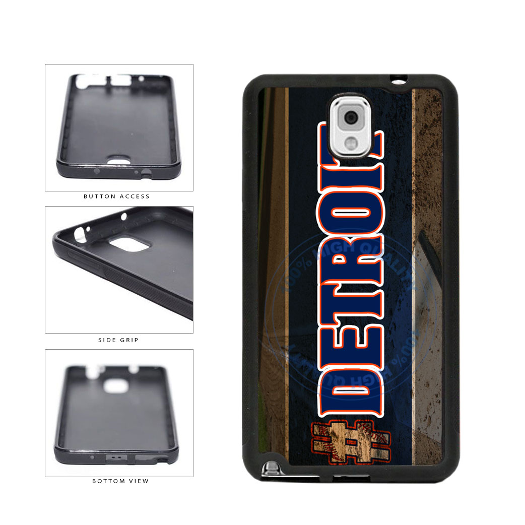 Hashtag Detroit #Detroit Baseball Team  TPU Rubber SILICONE Phone Case Back Cover For Samsung Galaxy Note III 3 N9002 includes BleuReign(TM) Cloth and Warranty Label
