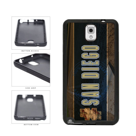 Hashtag San Diego #SanDiego Baseball Team  TPU Rubber SILICONE Phone Case Back Cover For Samsung Galaxy Note III 3 N9002 includes BleuReign(TM) Cloth and Warranty Label