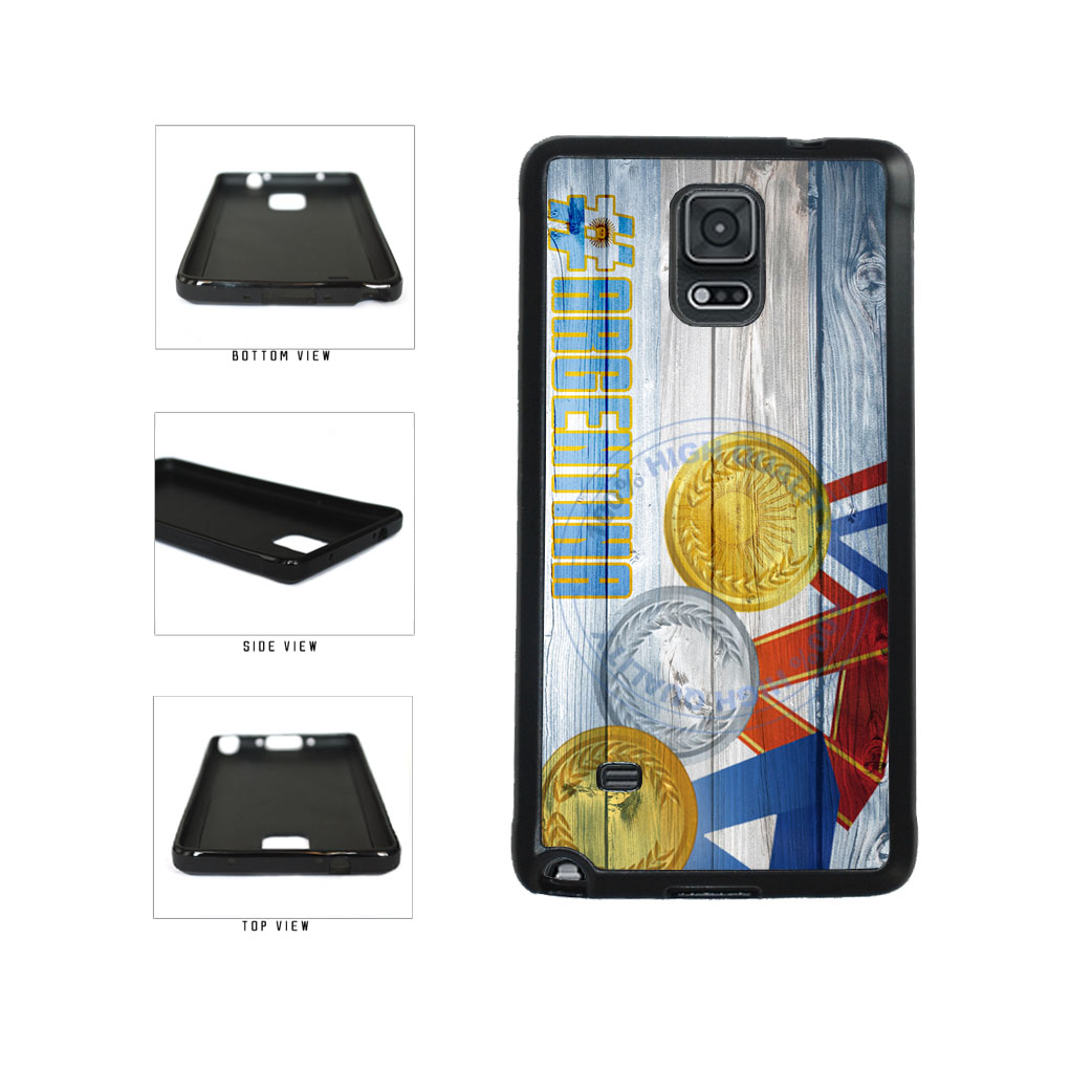 Sport Games Hashtag Team Argentina #Argentina TPU Rubber SILICONE Phone Case Back Cover For Samsung Galaxy Note IV 4 N910 includes BleuReign(TM) Cloth and Warranty Label