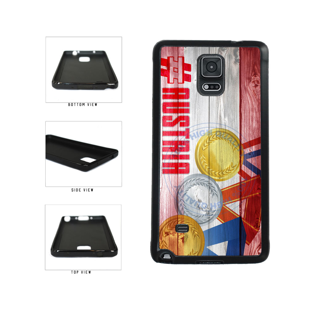 Sport Games Hashtag Team Austria #Austria TPU Rubber SILICONE Phone Case Back Cover For Samsung Galaxy Note IV 4 N910 includes BleuReign(TM) Cloth and Warranty Label