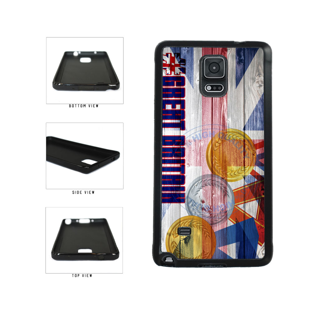 Sport Games Hashtag Team Great Britain #GreatBritain TPU Rubber SILICONE Phone Case Back Cover For Samsung Galaxy Note IV 4 N910 includes BleuReign(TM) Cloth and Warranty Label
