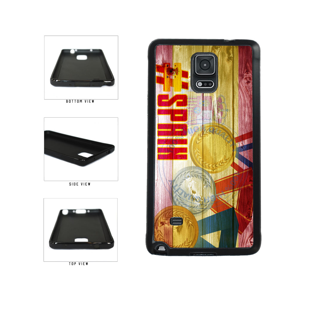 Sport Games Hashtag Team Spain #Spain TPU Rubber SILICONE Phone Case Back Cover For Samsung Galaxy Note IV 4 N910 includes BleuReign(TM) Cloth and Warranty Label