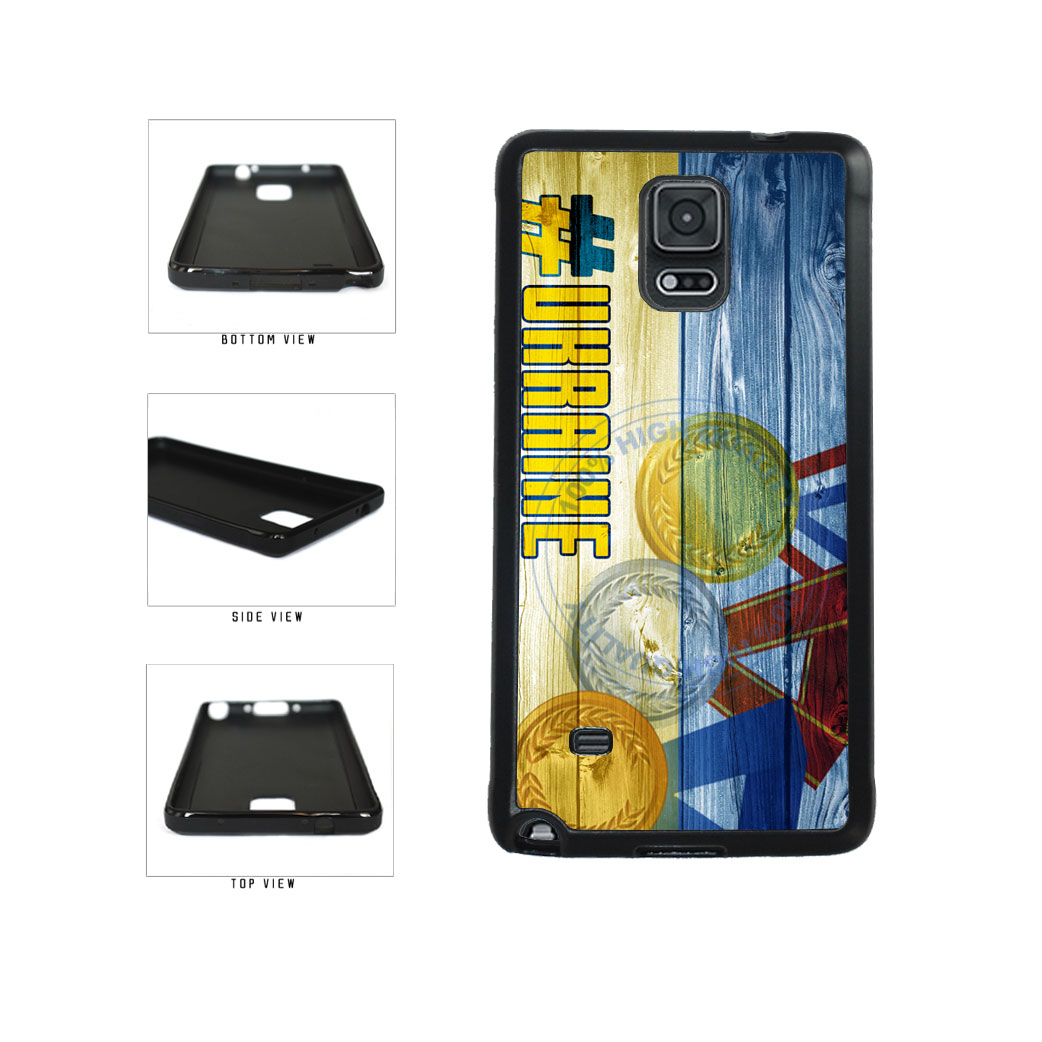 Sport Games Hashtag Team Ukraine #Ukraine TPU Rubber SILICONE Phone Case Back Cover For Samsung Galaxy Note IV 4 N910 includes BleuReign(TM) Cloth and Warranty Label