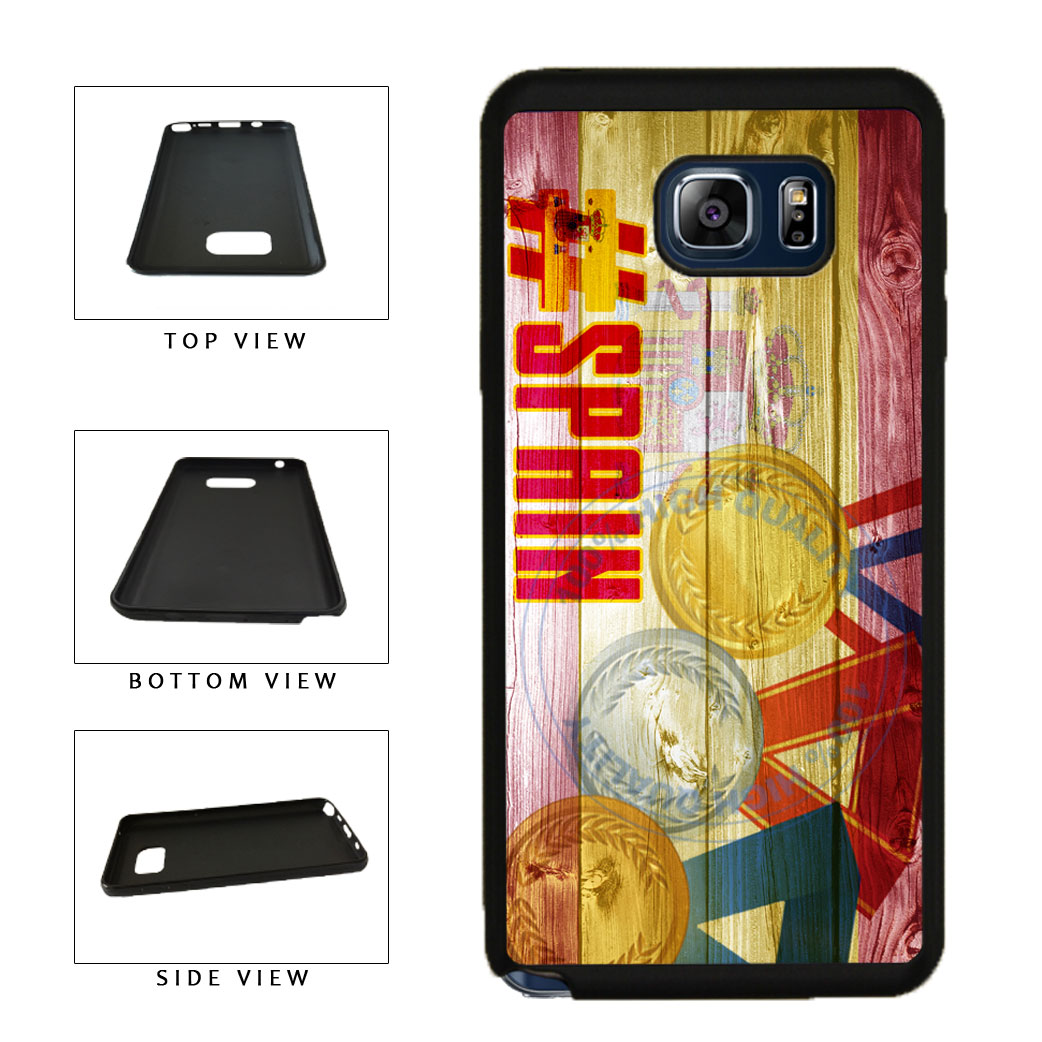 Sport Games Hashtag Team Spain #Spain TPU RUBBER SILICONE Phone Case Back Cover For Samsung Galaxy Note V 5 N920 includes BleuReign(TM) Cloth and Warranty Label