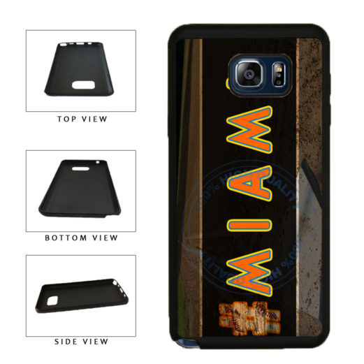 Hashtag Miami #Miami Baseball Team  TPU RUBBER SILICONE Phone Case Back Cover For Samsung Galaxy Note V 5 N920 includes BleuReign(TM) Cloth and Warranty Label