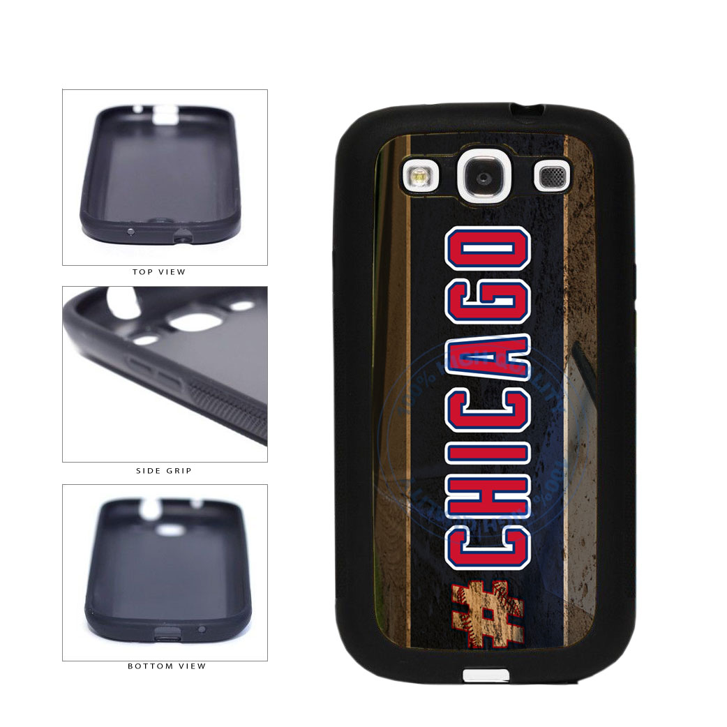 Hashtag Chicago #Chicago Blue and Red Baseball Team  TPU Rubber SILICONE Phone Case Back Cover For Samsung Galaxy S3 I9300 includes BleuReign(TM) Cloth and Warranty Label