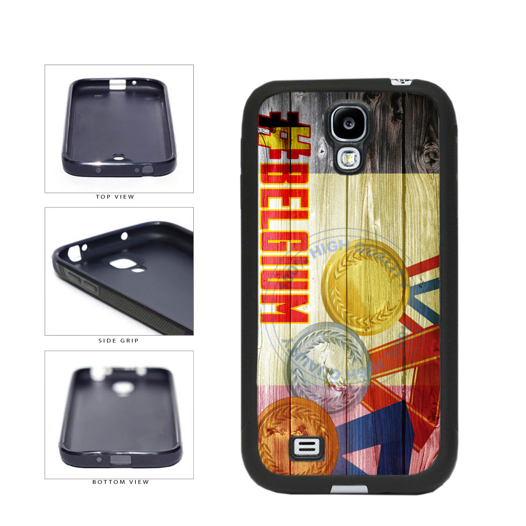 Sport Games Hashtag Team Belgium #Belgium TPU Rubber SILICONE Phone Case Back Cover For Samsung Galaxy S4 I9500 includes BleuReign(TM) Cloth and Warranty Label