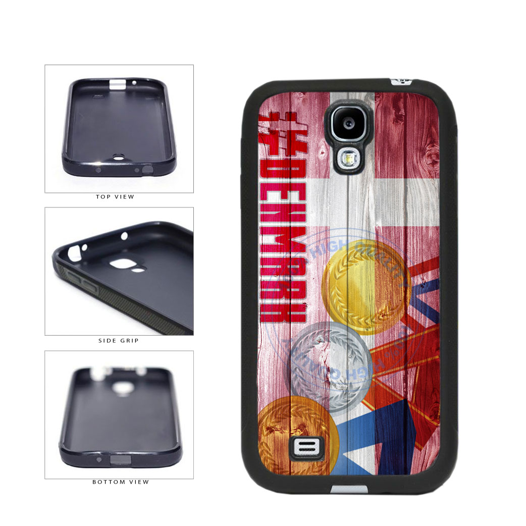 Sport Games Hashtag Team Denmark #Denmark TPU Rubber SILICONE Phone Case Back Cover For Samsung Galaxy S4 I9500 includes BleuReign(TM) Cloth and Warranty Label