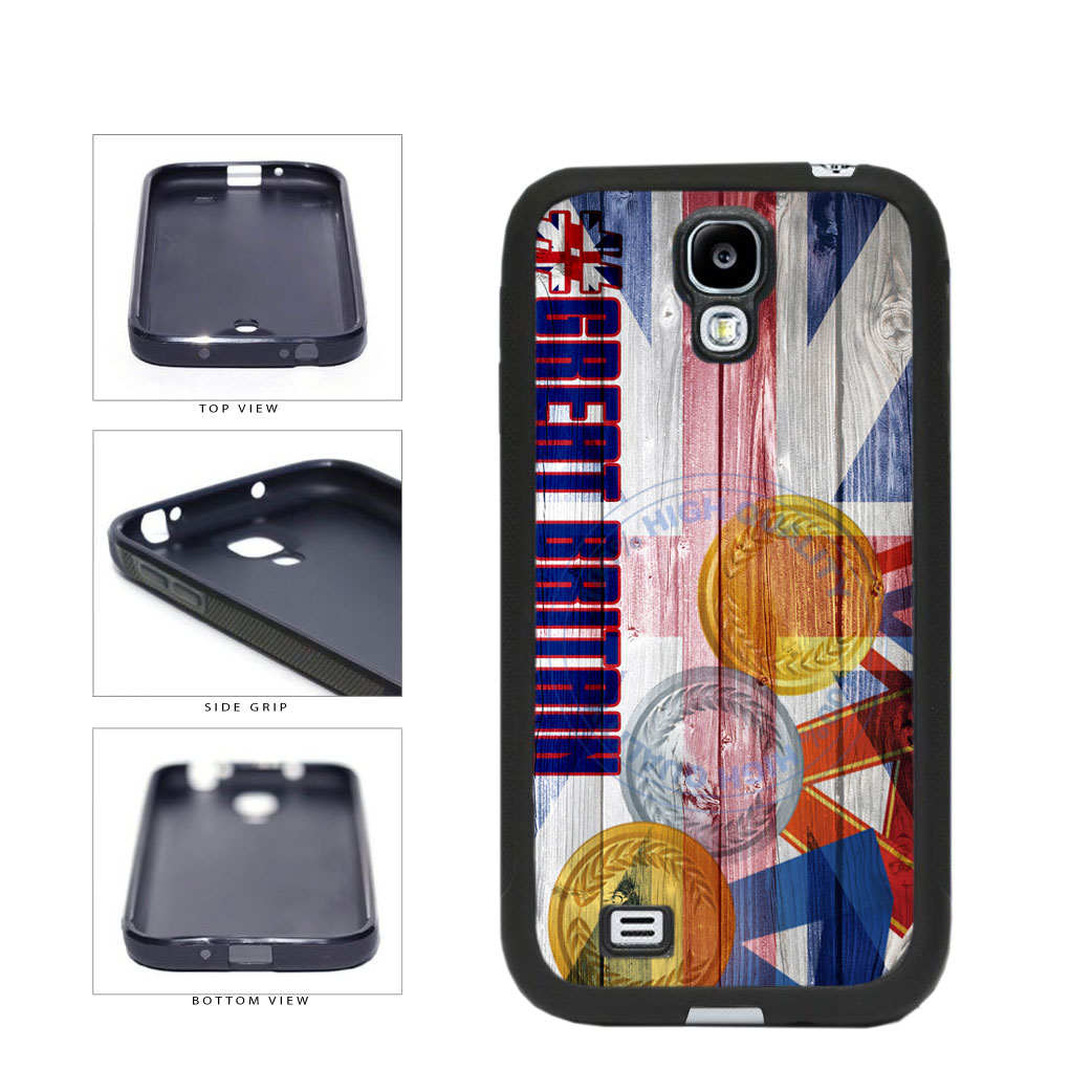 Sport Games Hashtag Team Great Britain #GreatBritain TPU Rubber SILICONE Phone Case Back Cover For Samsung Galaxy S4 I9500 includes BleuReign(TM) Cloth and Warranty Label