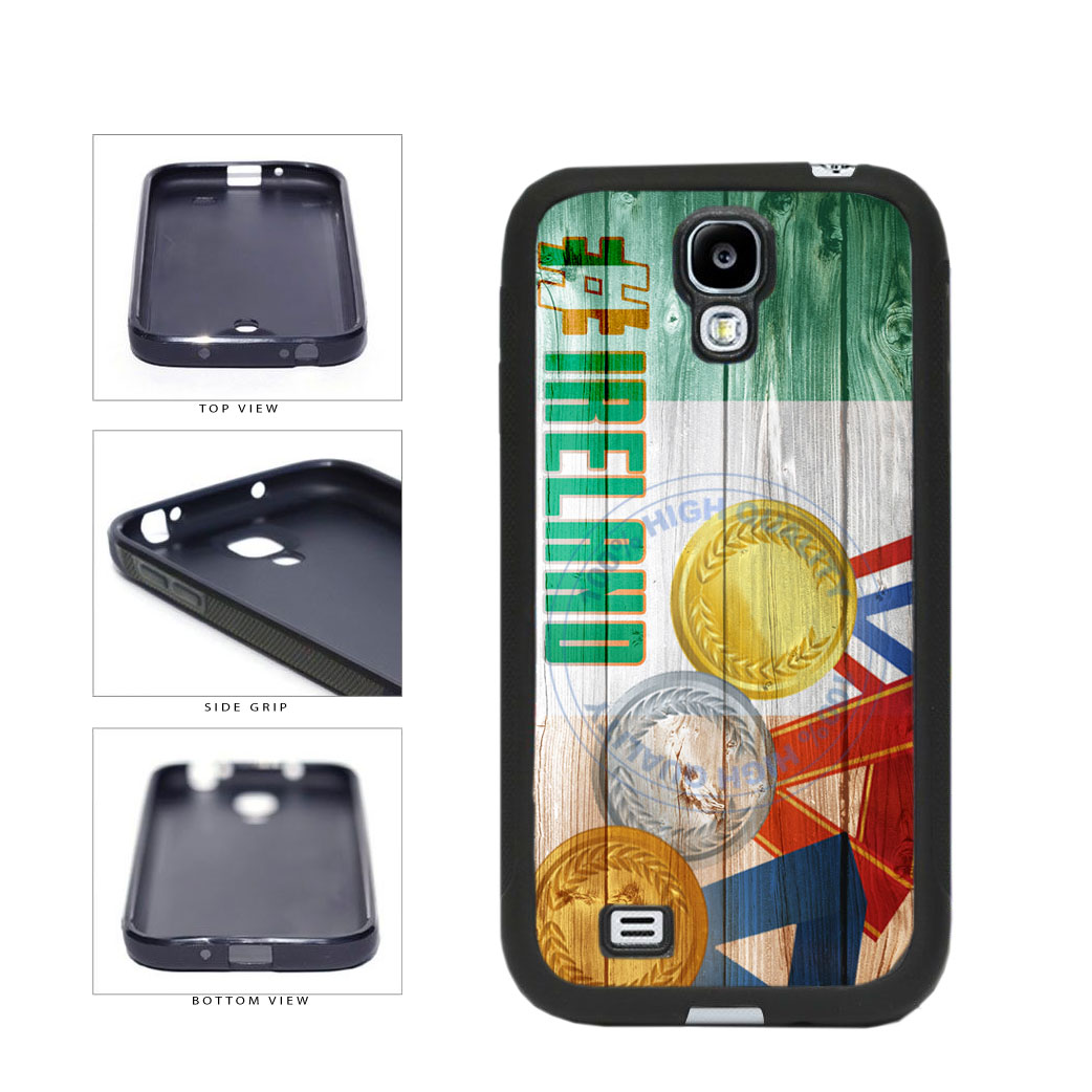 Sport Games Hashtag Team Ireland #Ireland TPU Rubber SILICONE Phone Case Back Cover For Samsung Galaxy S4 I9500 includes BleuReign(TM) Cloth and Warranty Label