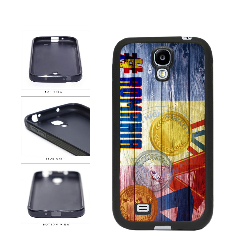 Sport Games Hashtag Team Romania #Romania TPU Rubber SILICONE Phone Case Back Cover For Samsung Galaxy S4 I9500 includes BleuReign(TM) Cloth and Warranty Label