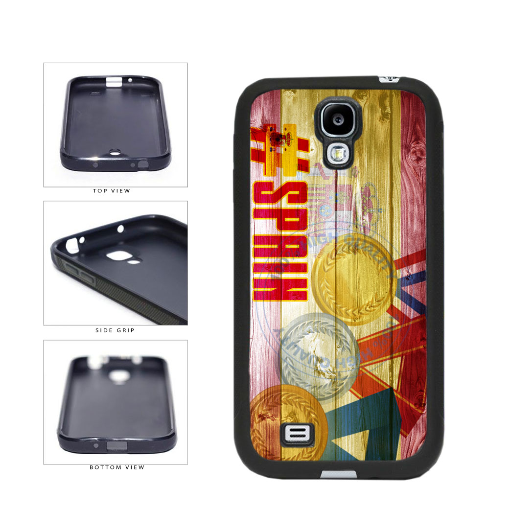 Sport Games Hashtag Team Spain #Spain TPU Rubber SILICONE Phone Case Back Cover For Samsung Galaxy S4 I9500 includes BleuReign(TM) Cloth and Warranty Label