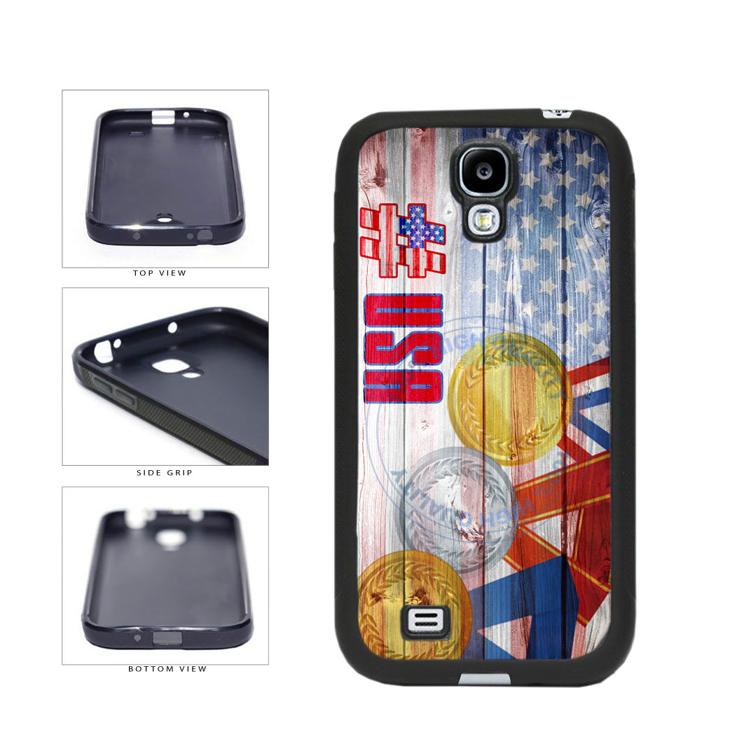 Sport Games Hashtag Team USA #USA TPU Rubber SILICONE Phone Case Back Cover For Samsung Galaxy S4 I9500 includes BleuReign(TM) Cloth and Warranty Label