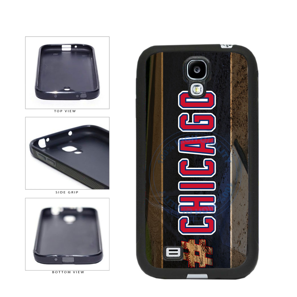 Hashtag Chicago #Chicago Blue and Red Baseball Team  TPU Rubber SILICONE Phone Case Back Cover For Samsung Galaxy S4 I9500 includes BleuReign(TM) Cloth and Warranty Label