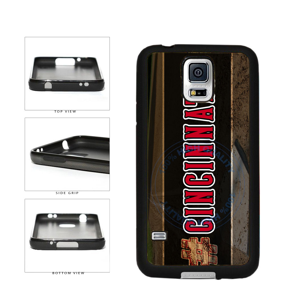 Hashtag Cincinnati #Cincinnati Baseball Team  TPU Rubber SILICONE Phone Case Back Cover For Samsung Galaxy S5 I9600 includes BleuReign(TM) Cloth and Warranty Label