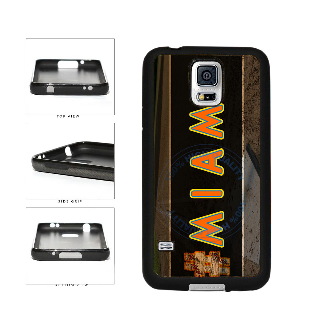 Hashtag Miami #Miami Baseball Team  TPU Rubber SILICONE Phone Case Back Cover For Samsung Galaxy S5 I9600 includes BleuReign(TM) Cloth and Warranty Label