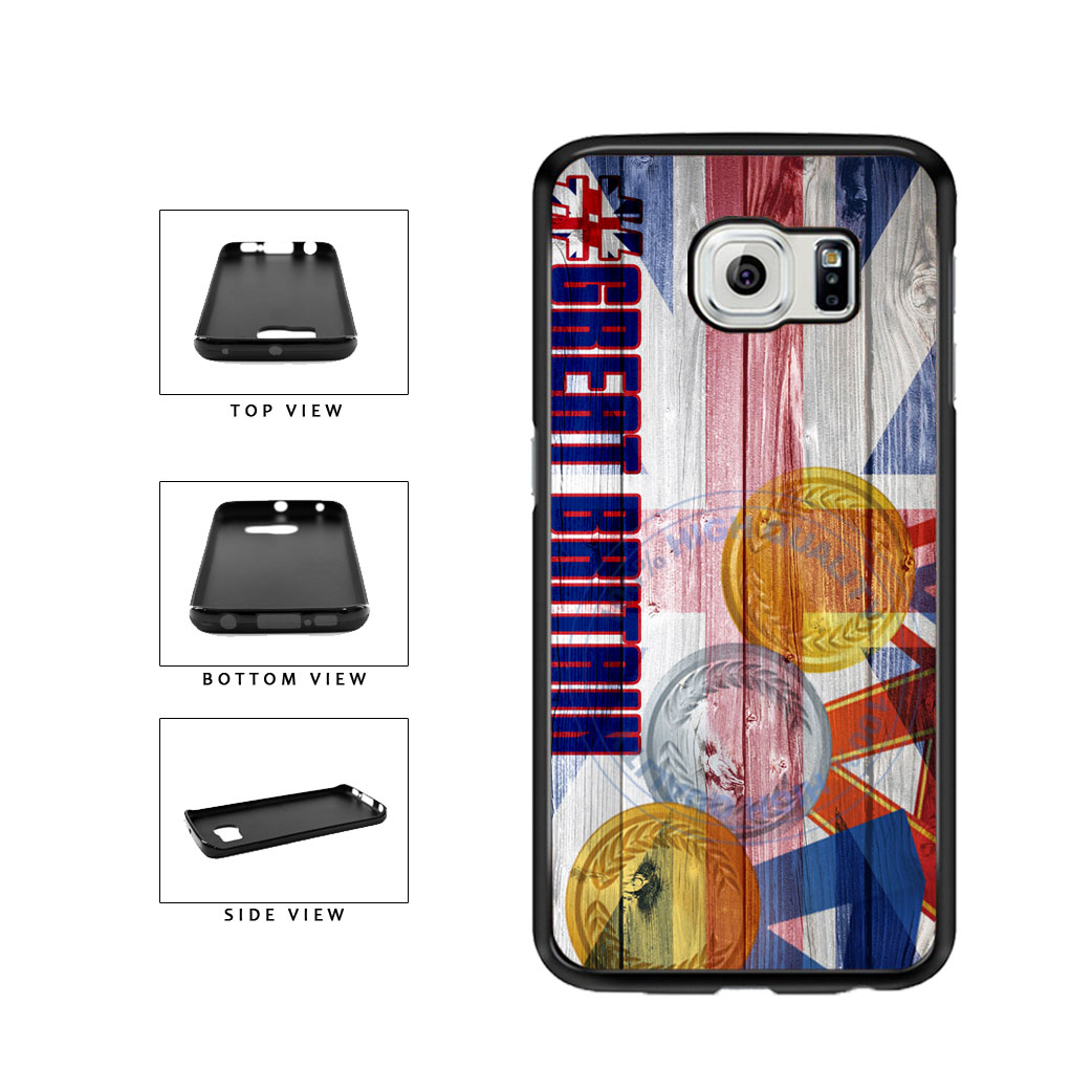 Sport Games Hashtag Team Great Britain #GreatBritain TPU Rubber SILICONE Phone Case Back Cover For Samsung Galaxy S6 Edge G925 includes BleuReign(TM) Cloth and Warranty Label