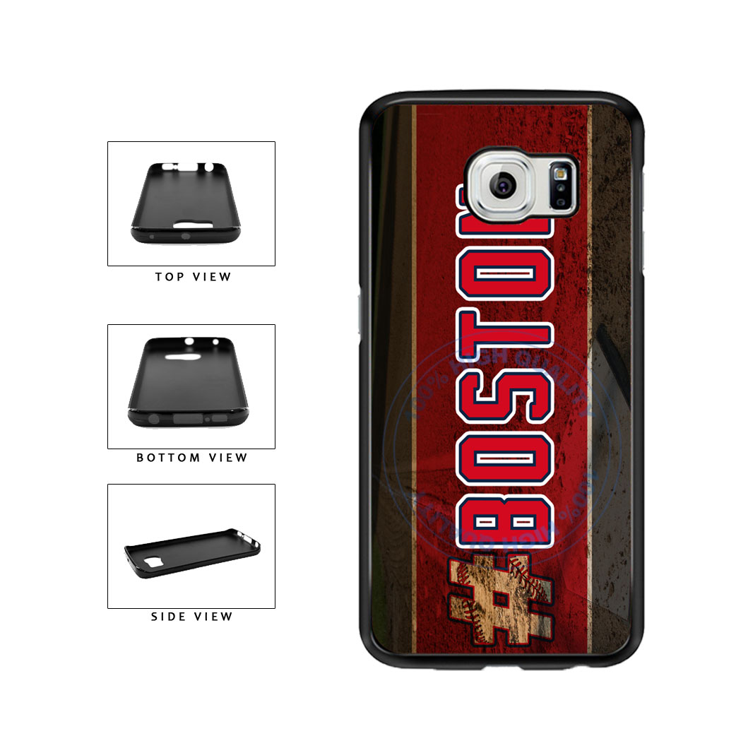 Hashtag Boston #Boston Baseball Team  TPU Rubber SILICONE Phone Case Back Cover For Samsung Galaxy S6 Edge G925 includes BleuReign(TM) Cloth and Warranty Label