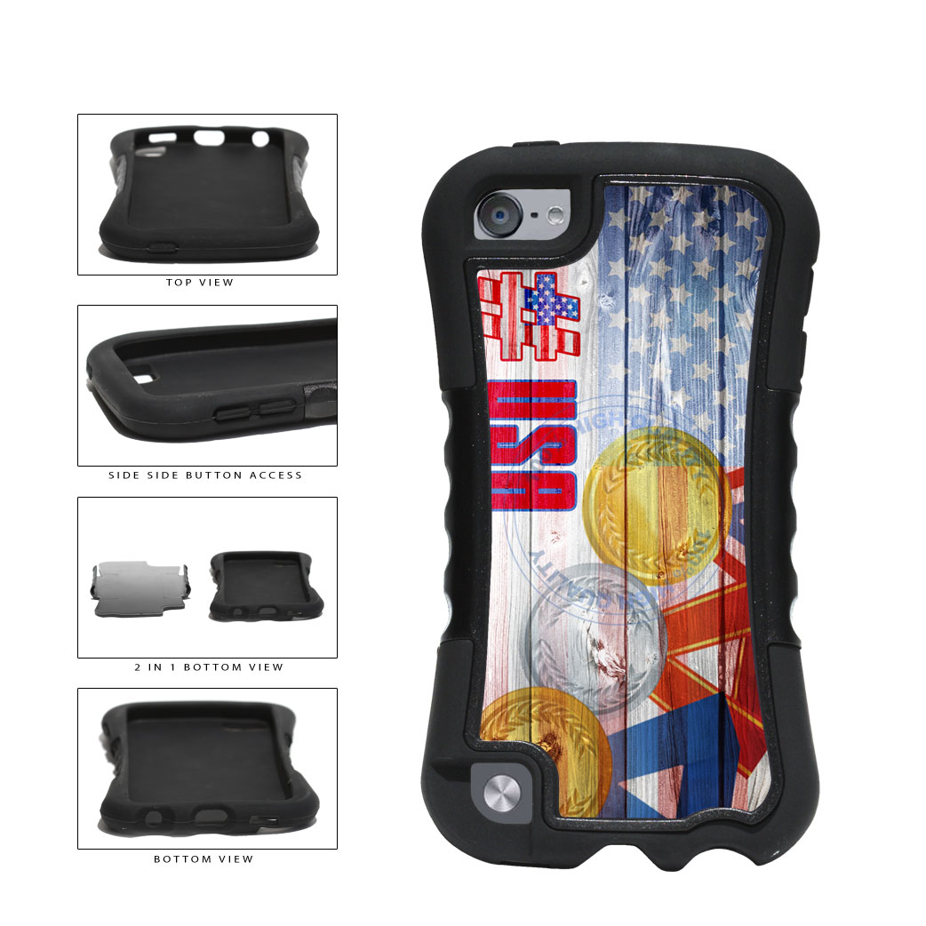 Sport Games Hashtag Team USA #USA 2-Piece Dual Layer Phone Case Back Cover For Apple iPod Touch 5th Generation includes BleuReign(TM) Cloth and Warranty Label