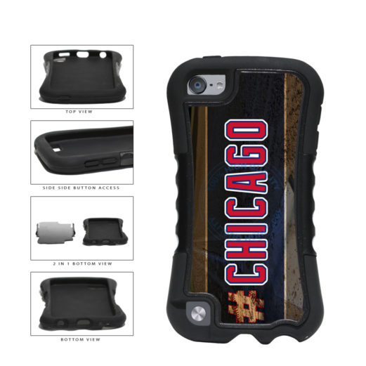 Hashtag Chicago #Chicago Blue and Red Baseball Team  2-Piece Dual Layer Phone Case Back Cover For Apple iPod Touch 5th Generation includes BleuReign(TM) Cloth and Warranty Label