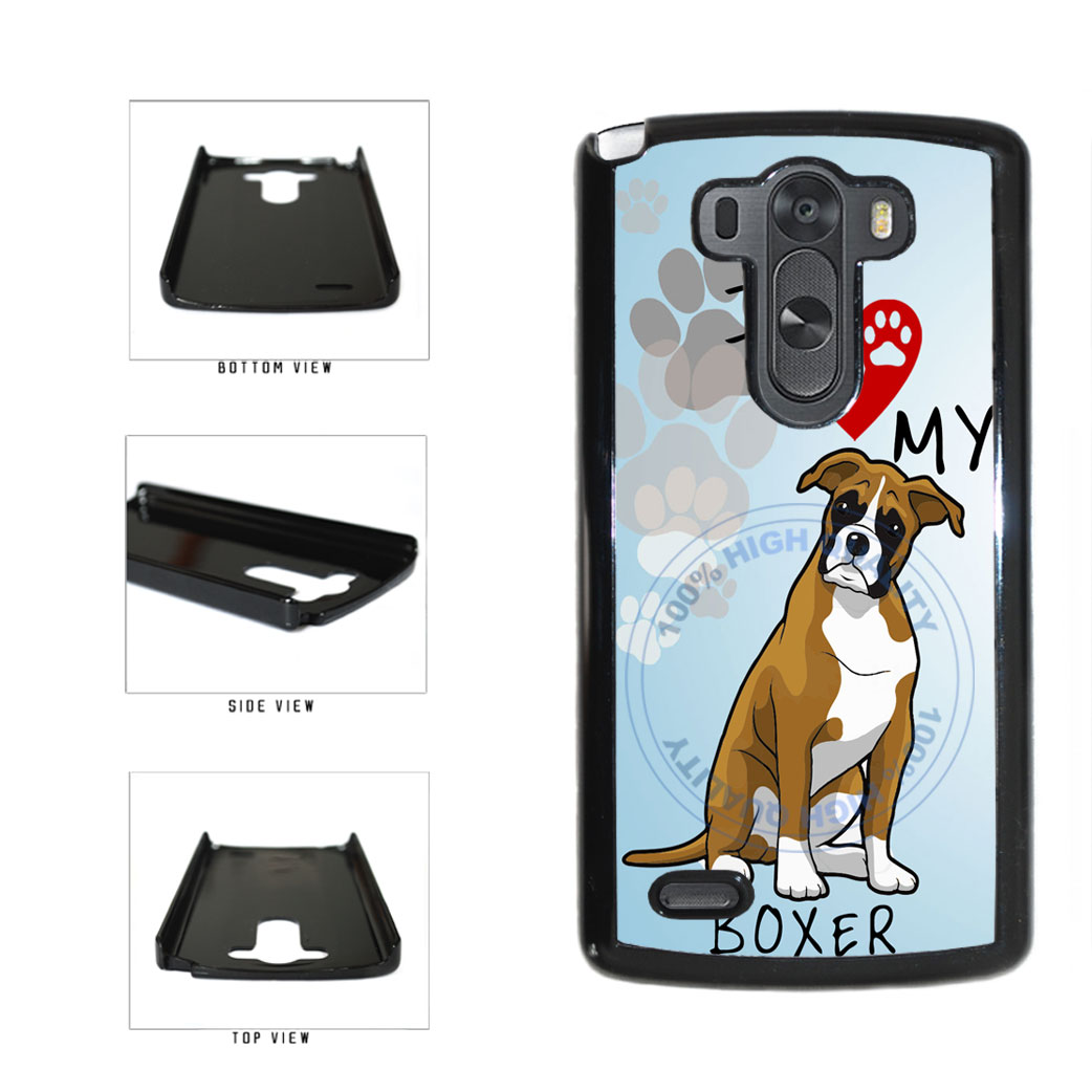 I Love My Boxer Dog Lover Plastic Phone Case Back Cover For LG G3 D855 includes BleuReign(TM) Cloth and Warranty Label