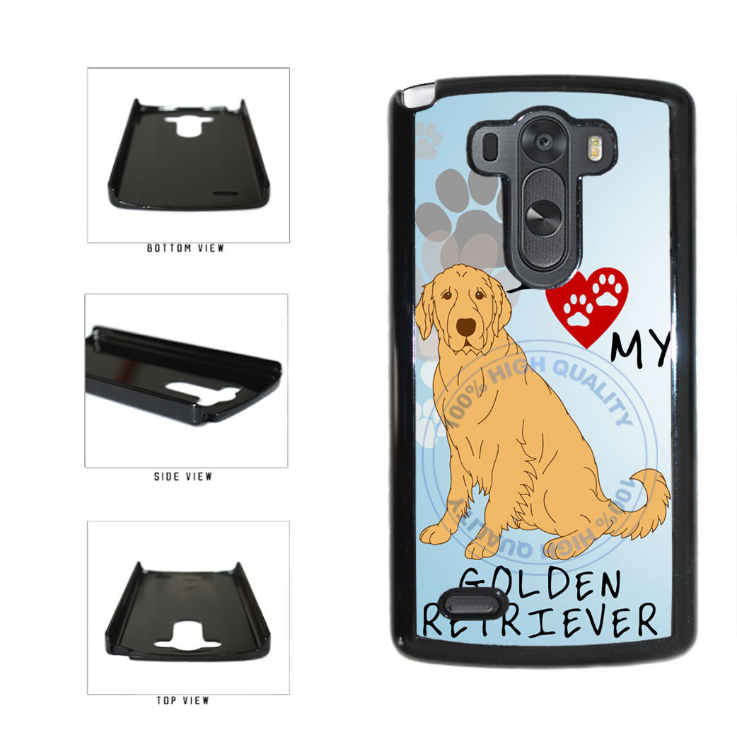 I Love My Golden Retriever Dog Lover Plastic Phone Case Back Cover For LG G3 D855 includes BleuReign(TM) Cloth and Warranty Label