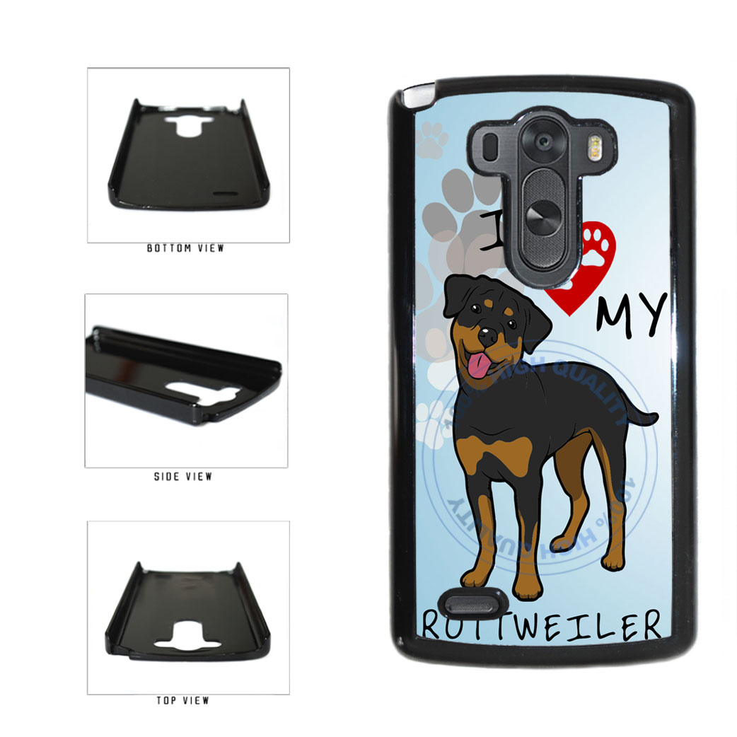 I Love My Rottweiler Dog Lover Plastic Phone Case Back Cover For LG G3 D855 includes BleuReign(TM) Cloth and Warranty Label