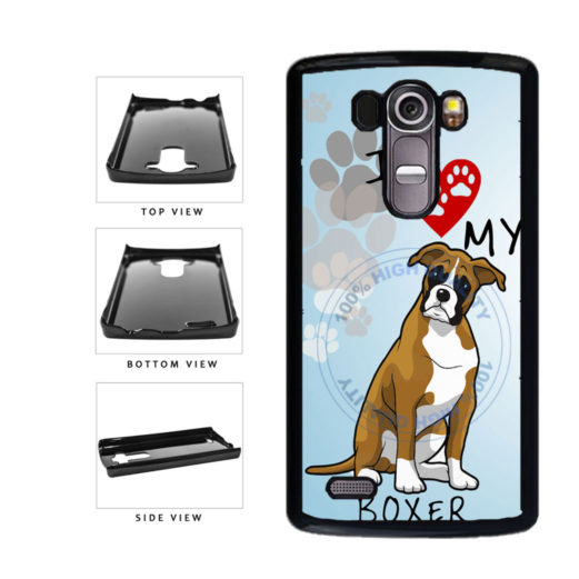 I Love My Boxer Dog Lover Plastic Phone Case Back Cover For LG G4 H815 includes BleuReign(TM) Cloth and Warranty Label