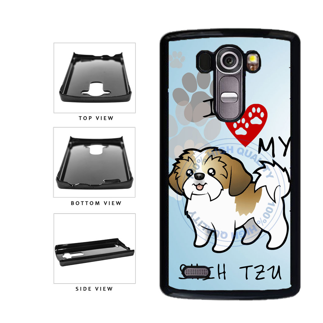 I Love My Shih Tzu Dog Lover Plastic Phone Case Back Cover For LG G4 H815 includes BleuReign(TM) Cloth and Warranty Label