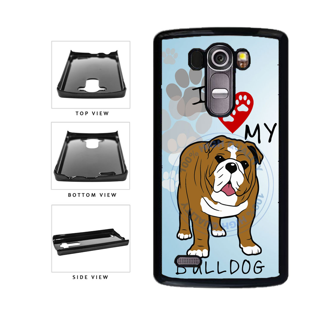 I Love My Bulldog Dog Lover Plastic Phone Case Back Cover For LG G4 H815 includes BleuReign(TM) Cloth and Warranty Label