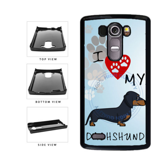 I Love My Dachshund Dog Lover Plastic Phone Case Back Cover For LG G4 H815 includes BleuReign(TM) Cloth and Warranty Label