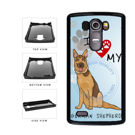 I Love My German Shepherd Dog Lover Plastic Phone Case Back Cover For LG G4 H815 includes BleuReign(TM) Cloth and Warranty Label
