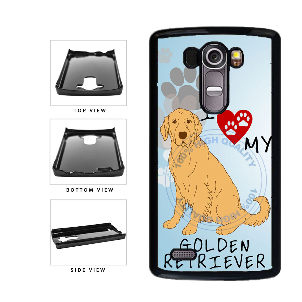 I Love My Golden Retriever Dog Lover Plastic Phone Case Back Cover For LG G4 H815 includes BleuReign(TM) Cloth and Warranty Label