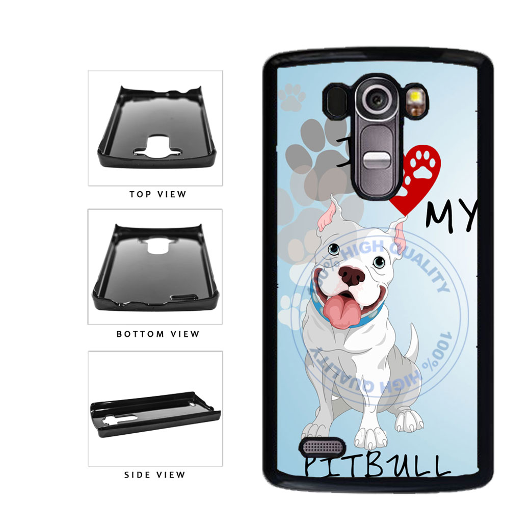 I Love My Pittbull Dog Lover Plastic Phone Case Back Cover For LG G4 H815 includes BleuReign(TM) Cloth and Warranty Label