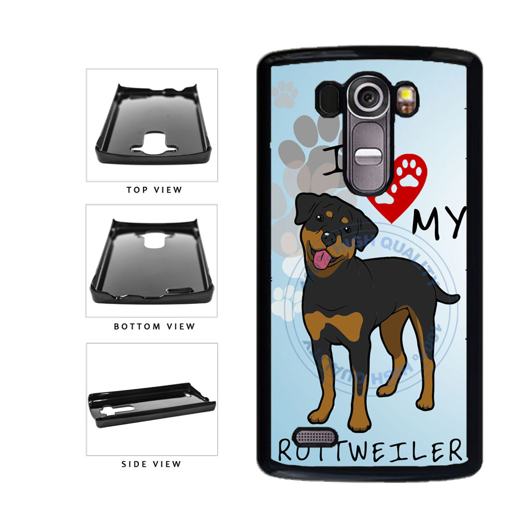 I Love My Rottweiler Dog Lover Plastic Phone Case Back Cover For LG G4 H815 includes BleuReign(TM) Cloth and Warranty Label