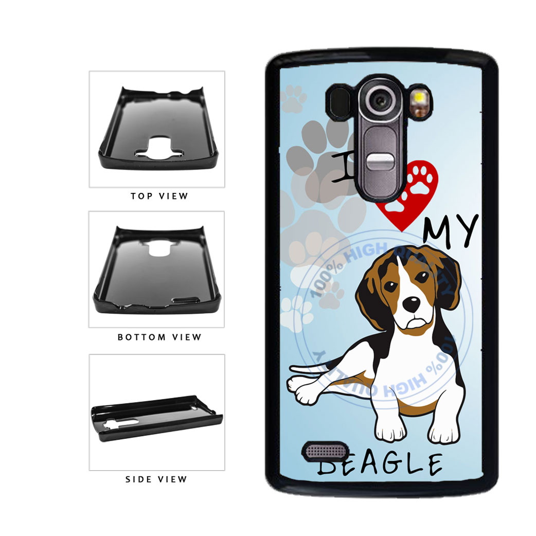 I Love My Beagle Dog Lover Plastic Phone Case Back Cover For LG G4 H815 includes BleuReign(TM) Cloth and Warranty Label